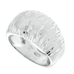 Silver Rhodium Finish 5.75-12.6Mm Shiny Diamond Cut Satin Graduated Domed Top Ring