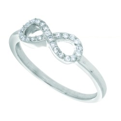 Silver Rhodium Finish 1.7Mm All Shiny Infinity Top Size 6 Ring With White Stone