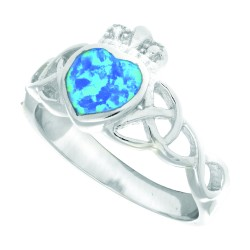 Silver With Rhodium Finish 3.5Mm Shiny Textured Opal Claddagh Size 6 Ring