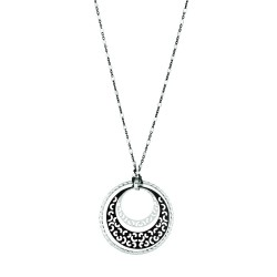 Silver With Blackrhodium Finish Shiny Fancy Chain With Pear Shape Claspgra Duated Open Round Pattern Pendant