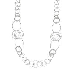 Silver 3 With Rhodium Finish Shiny Diamond Cut Fancy Long Length Necklace Wit H Lobster Clasp.