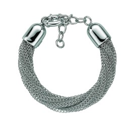 Silver With Rhodium Finish Shiny Twisted Multi-Strand Wheat Chain Bracelet With Spring Ring Clasp