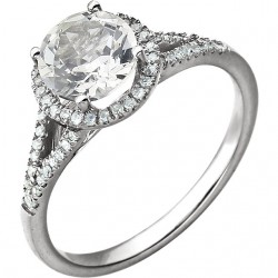 14K White Lab Created White Sapphire & 1/6 CTW Diamond Ring