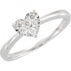 14K White .02 CTW Diamond Double Heart Ring