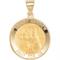 14K Yellow 14.75mm Round Hollow St. Matthew Medal