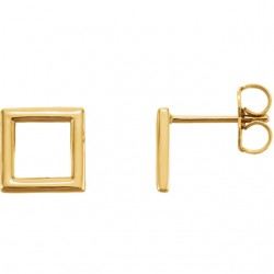 14K Yellow Square Earrings