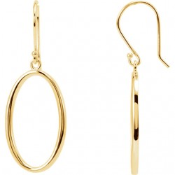 14K Yellow Oval Dangle Earrings