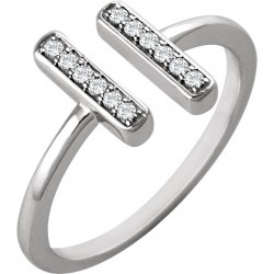 14K White 1/10 CTW Diamond Vertical Bar Ring