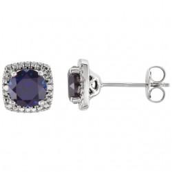 Sterling Silver White Sapphire & .015 CTW Diamond Earrings