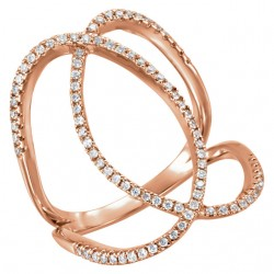14K Rose 3/8 CTW Diamond Freeform Ring