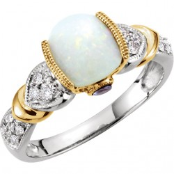 14K White & Yellow Opal, Tanzinite & 1/6 CTW Diamond Ring