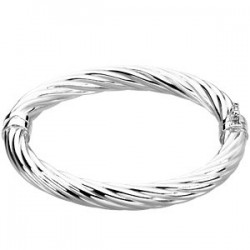 "Sterling Silver Hinged Bangle 7"" Bracelet"