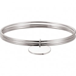 Sterling Silver Triple Bangle Bracelet with Circle Charm