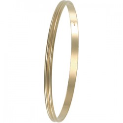 14kt Yellow 4mm Grooved Bangle Bracelet