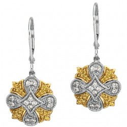 Natural Yellow & White Diamonds Lever Back Earrings