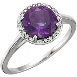 14K White Amethyst & .05 CTW Diamond Ring