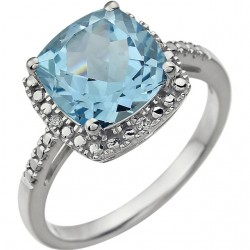 14K White Sky Blue Topaz & .03 CTW Diamond Ring