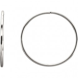 Sterling Silver 40mm Endless Hoop Tube Earrings