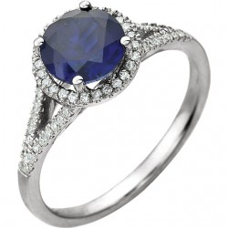 14K White Lab Grown Blue Sapphire & 1/6 CTW Diamond Ring