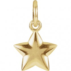 14K Yellow 15.75x9.75mm Puffed Star Charm with Jump Ring