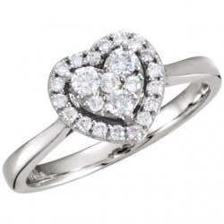 14K White 3/8 CTW Diamond Heart Ring