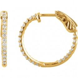 14K Yellow 1 CTW Diamond Inside/Outside Hoop Earrings
