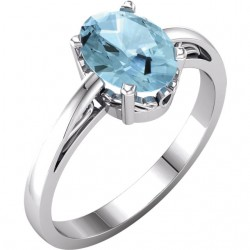 14K White Aquamarine Ring