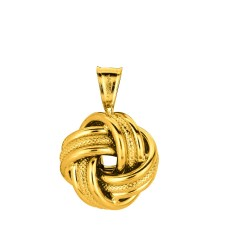14K Yellow Gold Shiny Textured Cable Link Chain With Lobster Clasp3 Row Love Knot Pendant