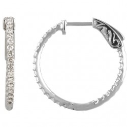 Platinum 3/4 CTW Diamond Inside/Outside Hoop Earrings