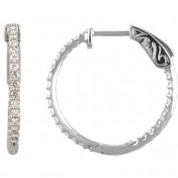 Platinum 3/4 CTW Diamond Inside/Outside Hoop Earrings