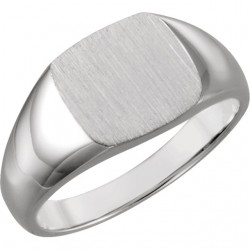 14K White 9mm Square Signet Ring