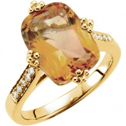 14K Yellow Citrine & .08 CTW Diamond Ring