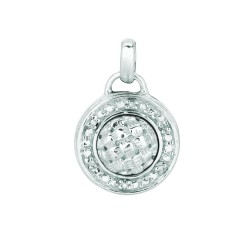 Silver Rhodium Finish Shiny 1.4Mm Cable Chain With Lobster Claspshiny Hollow 0.03 Ct White Diamond Circular Pendant
