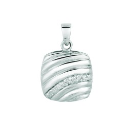 Silver Rhodium Finish Shiny 1.4Mm Cable Chain With Lobster Clasp0.03Ct Whit E Diamond Square Ridge Type Pendant