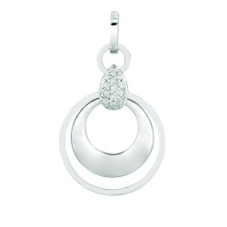 Silver Rhodium Finish Shiny 1.4Mm Cable Chain With Lobster Clasp0.03Ct Whit E Diamond 2 Concentric Open Dangle Circle Pendant