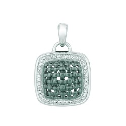 Silver Rhodiumblack Finish 1.4Mm Cable Chain With Lobster Claspshiny 0.03C T White Diamond Hollow Square Pendant