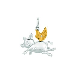 Silver Rhodiumyellow Finish Shiny 1.1Mm Cable Chain With Lobster Clasp0.01Ct White Diamond Yellow Wings Flying Pigs Pendant