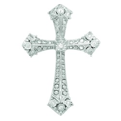 Silver Rhodium Finish 0.05Ct Diamond Cross Pendant On 1.1 Mm Diamond Cut Cable Chain With Lobster Clasp