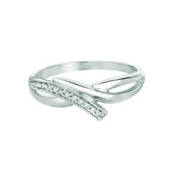 Silver Rhodium Finish Shiny 0.06Ct White Diamond Fancy Bypass Type Top Size 6 Ring