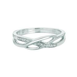 Silver Rhodium Finish Shiny 0.05Ct White Diamond Fancy Open Top Size 6 Ring