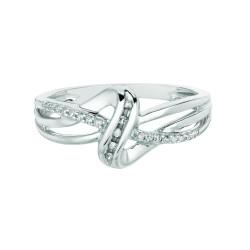 Silver Rhodium Finish Shiny 0.10Ct White Diamond Fancy Loop Size 7 Ring