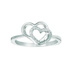 Silver Rhodium Finish Shiny 0.05Ct White Diamond Double Open Heart Size 6 Ring