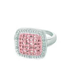 Silver Rhodiumrose Finish Shiny 0.03Ct White Diamond Center Weaved Soft Square Top Size 7 Ring