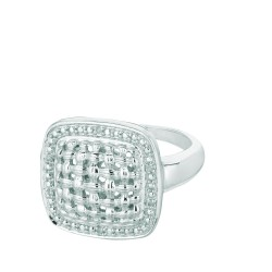 Silver Rhodium Shiny Hollow 0.03Ct White Diamond Center Weaved Soft Square Top Size 7 Ring