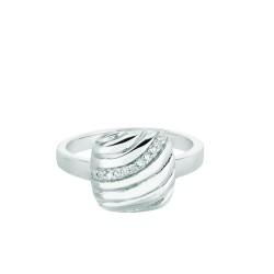 Silver Rhodium Finish Shiny 0.03Ct White Diamond Square Top Size 6 Ring