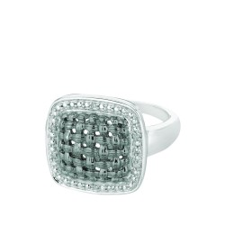 Silver Rhodiumblack Finish Shiny 0.03Ct White Diamond Center Weaved Soft Square Top Size 7 Ring