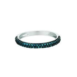 Silver Rhodium Finish Shiny 0.25Ct Blue Diamond Round Band Type Size 6 Ring