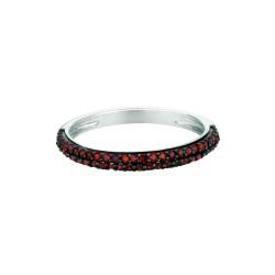 Silver Rhodium Finish Shiny 0.25 Red Diamond Round Band Type Size 6 Ring