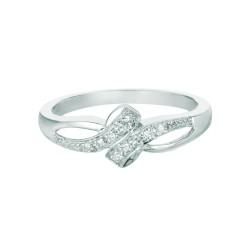 Silver Rhodium Finish Shiny 0.09Ct White Diamond Loop Like Top Size 6 Ring