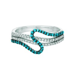 Silver Rhodium Finish Shiny 0.33Ct Bluewhite Diamond Fancy Size 6 Ring